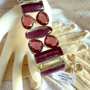 925 Bracelet Pink Amethyst & Fluorite NWOT